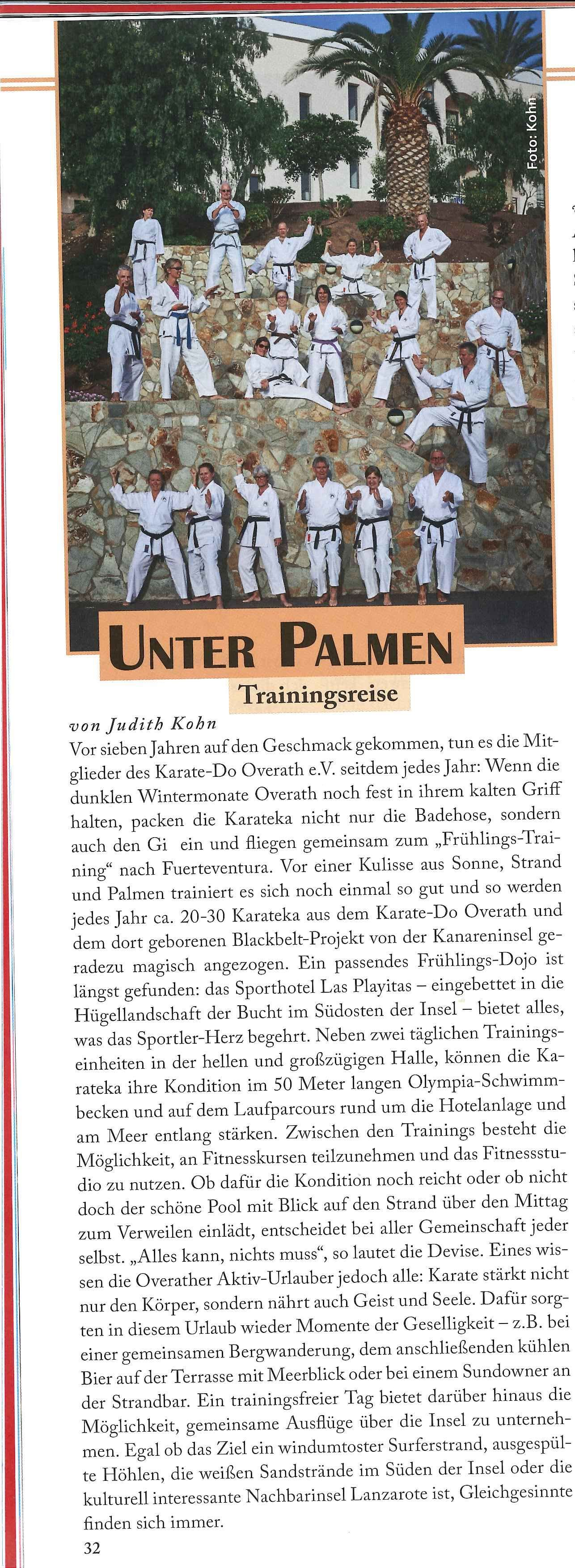 Fuerte Trainingscamp in Karate Aktuell 3 2017